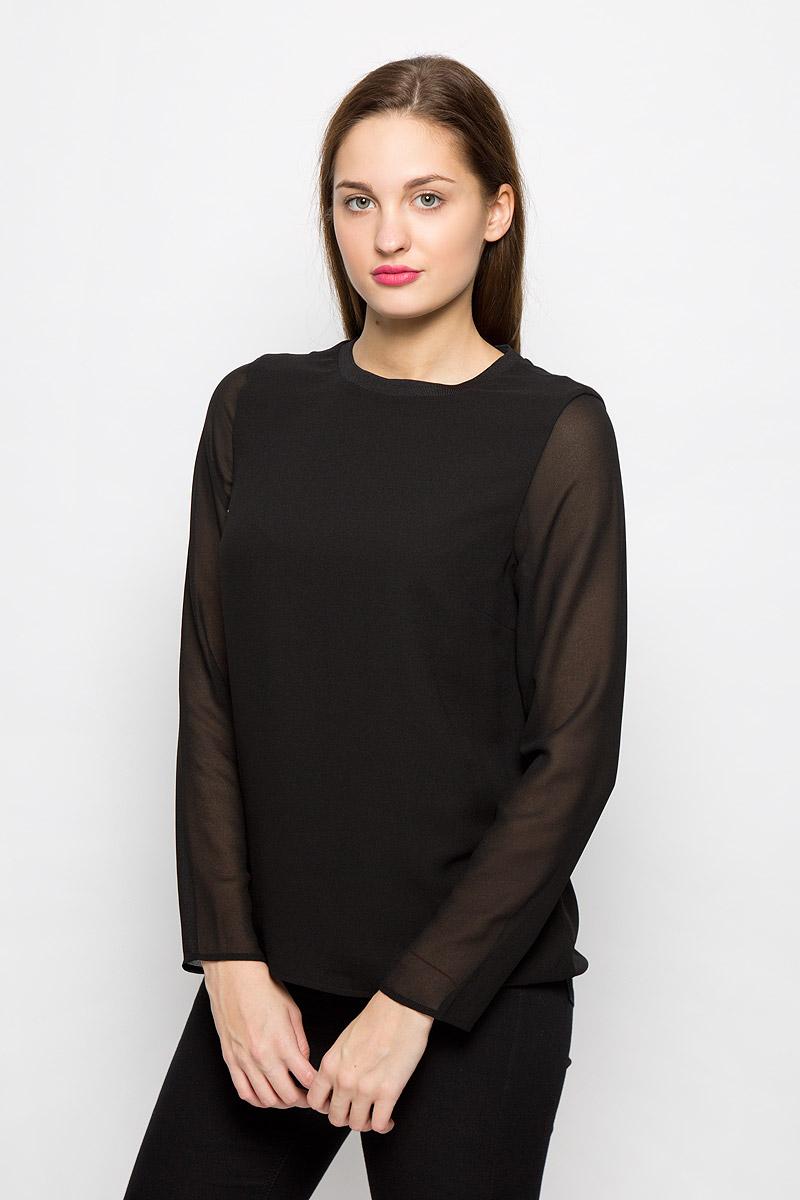Блузка женская Selected Femme, цвет: черный. 16052001. Размер 40 (46)