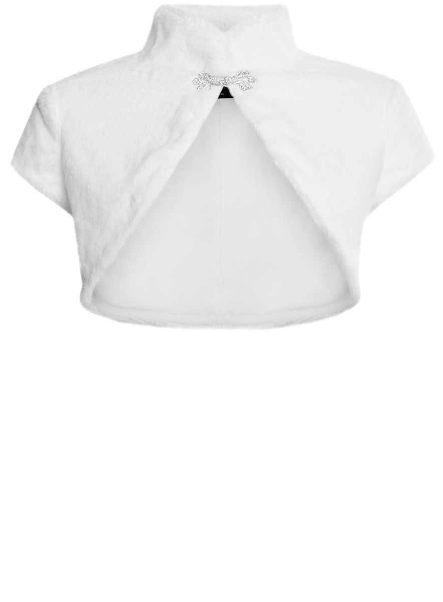 Болеро женское oodji Ultra, цвет: белый. 11J00001/45031/1200N. Размер 44 (50-170)11J00001/45031/1200NОригинальное болеро изготовлено из мягкого плюшевого материала на гладкой подкладке.Модель с воротником-стойкой и короткими рукавами застегивается на оригинальный крючок.Болеро - отличное дополнение к кофточке или платью.