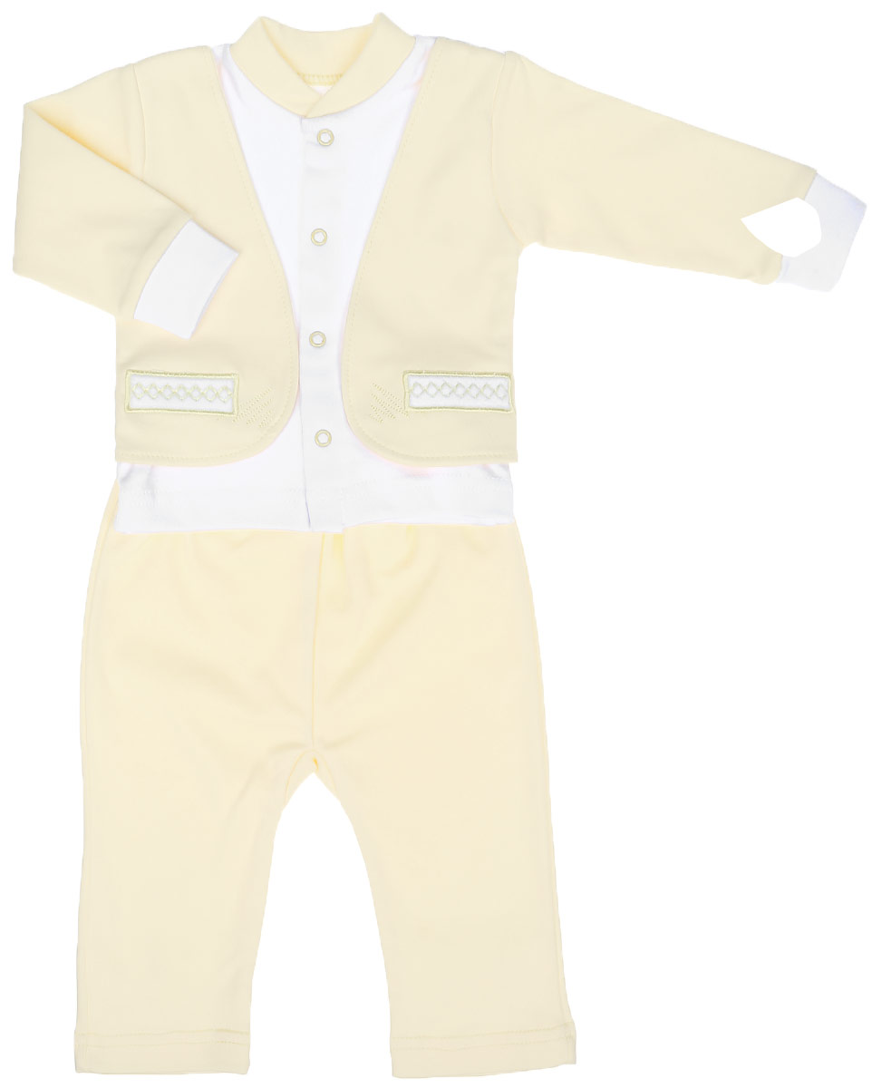 Комплект для мальчика Клякса: кофточка, штанишки, цвет: светло-желтый, белый. 37к-2005. Размер 6237к-2005Комплект для мальчика Клякса, изготовленный из натурального хлопка, состоит из кофточки и штанишек. Кофточка с имитацией пиджака застегивается спереди на кнопки. Модель с длинными рукавами имеет круглый вырез горловины, дополненный мягкой трикотажной резинкой. На рукавах предусмотрены эластичные манжеты. Кофточка украшена вышивкой. Штанишки с завышенной линией талии имеют мягкий эластичный пояс.