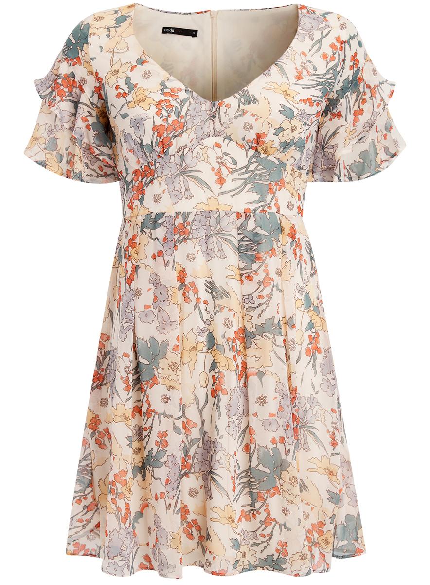 Платье oodji Ultra, цвет: бежевый, зеленый, красный, слоновая кость. 11900204M/38375/4019F. Размер 42 (48-170)11900204M/38375/4019FПлатье oodji Ultra с рукавами-крылышками исполнено из воздушной ткани. Имеет V-образный воротник, застегивается сзади на молнию.