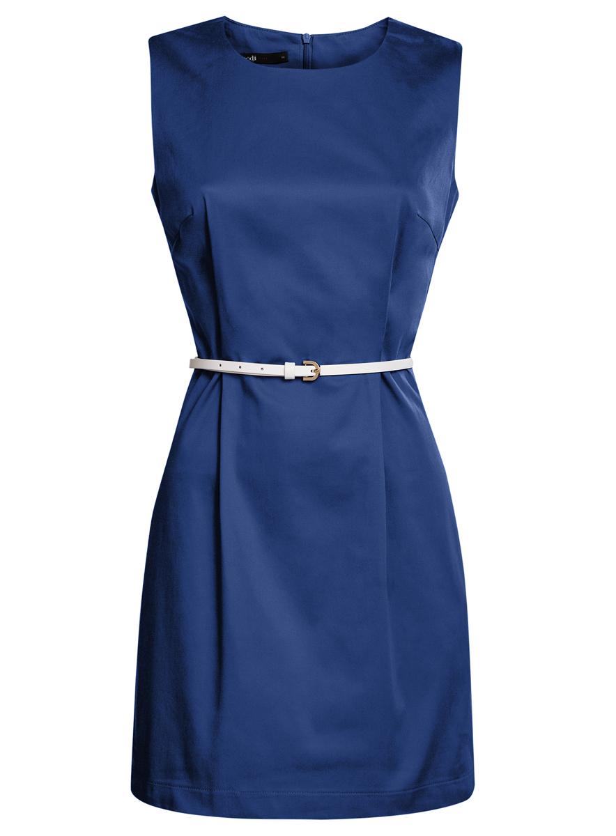 Платье oodji Ultra, цвет: синий. 11900128-1/42542/7500N. Размер 34 (40-170)11900128-1/42542/7500NСтильное платье oodji Ultra, выполненное из эластичного хлопка, отлично дополнит ваш гардероб. Модель-миди с круглым вырезом горловины и без рукавов застегивается сзади по спинке на застежку-молнию. Выполнено платье в лаконичном стиле. В комплект входит ремешок из искусственной кожи.