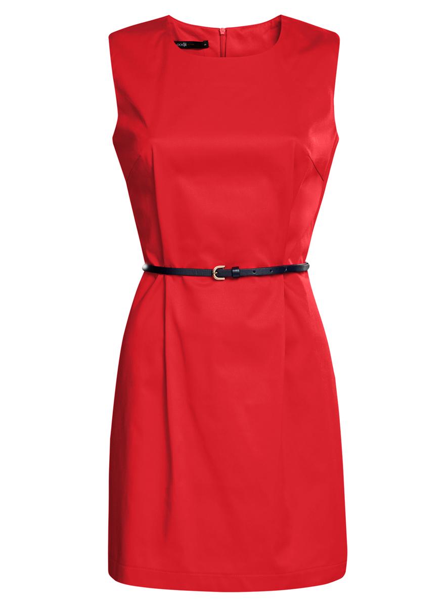 Платье oodji Ultra, цвет: красный. 11900128-1/42542/4500N. Размер 40 (46-170)11900128-1/42542/4500NСтильное платье oodji Ultra, выполненное из эластичного хлопка, отлично дополнит ваш гардероб. Модель-миди с круглым вырезом горловины и без рукавов застегивается сзади по спинке на застежку-молнию. Выполнено платье в лаконичном стиле. В комплект входит ремешок из искусственной кожи.