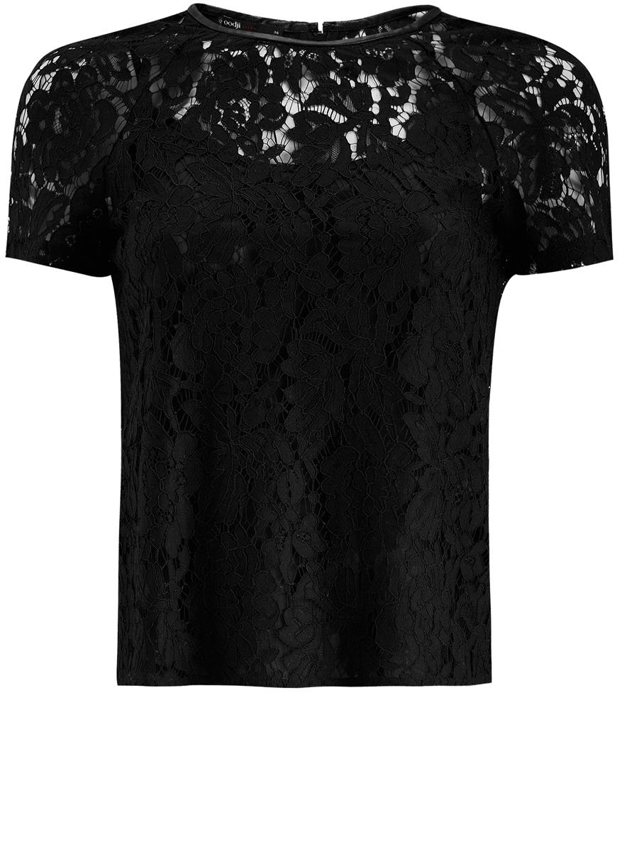 Блузка женская oodji Ultra, цвет: черный. 11414002/43757/2900N. Размер 34 (40-170)