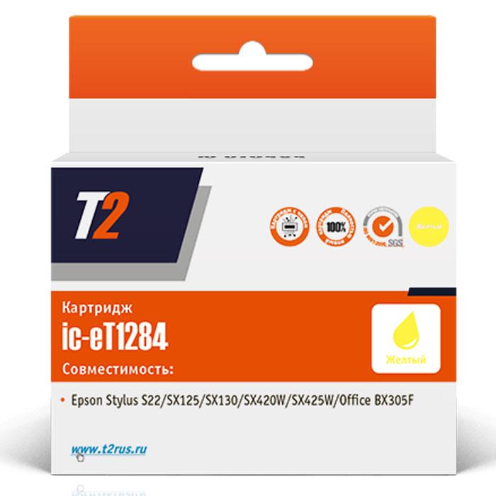 Фото - T2 IC-ET1284 (аналог T12844010), Yellow картридж для Epson Stylus S22/SX125/SX130/SX230/SX420W/Office BX305F картридж t2 ic et1281 black для epson stylus s22 sx125 sx130 sx230 sx420w office bx305f с чипом