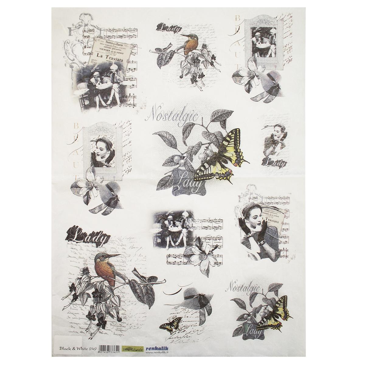 Рисовая бумага для декупажа Renkalik Ноты. Черное и белое, 35 х 50 см7716585Бумага для декупажа Renkalik предназначена для декорирования предметов. Имеет в составе прожилки риса, которые очень красиво смотрятся на декорируемом изделии, придают ему неповторимую фактуру и создают эффект нанесенного кистью рисунка. Подходит для декора в технике декупаж на стекле, дереве, пластике, металле и любых других поверхностях. Плотность бумаги: 25 г/м2.