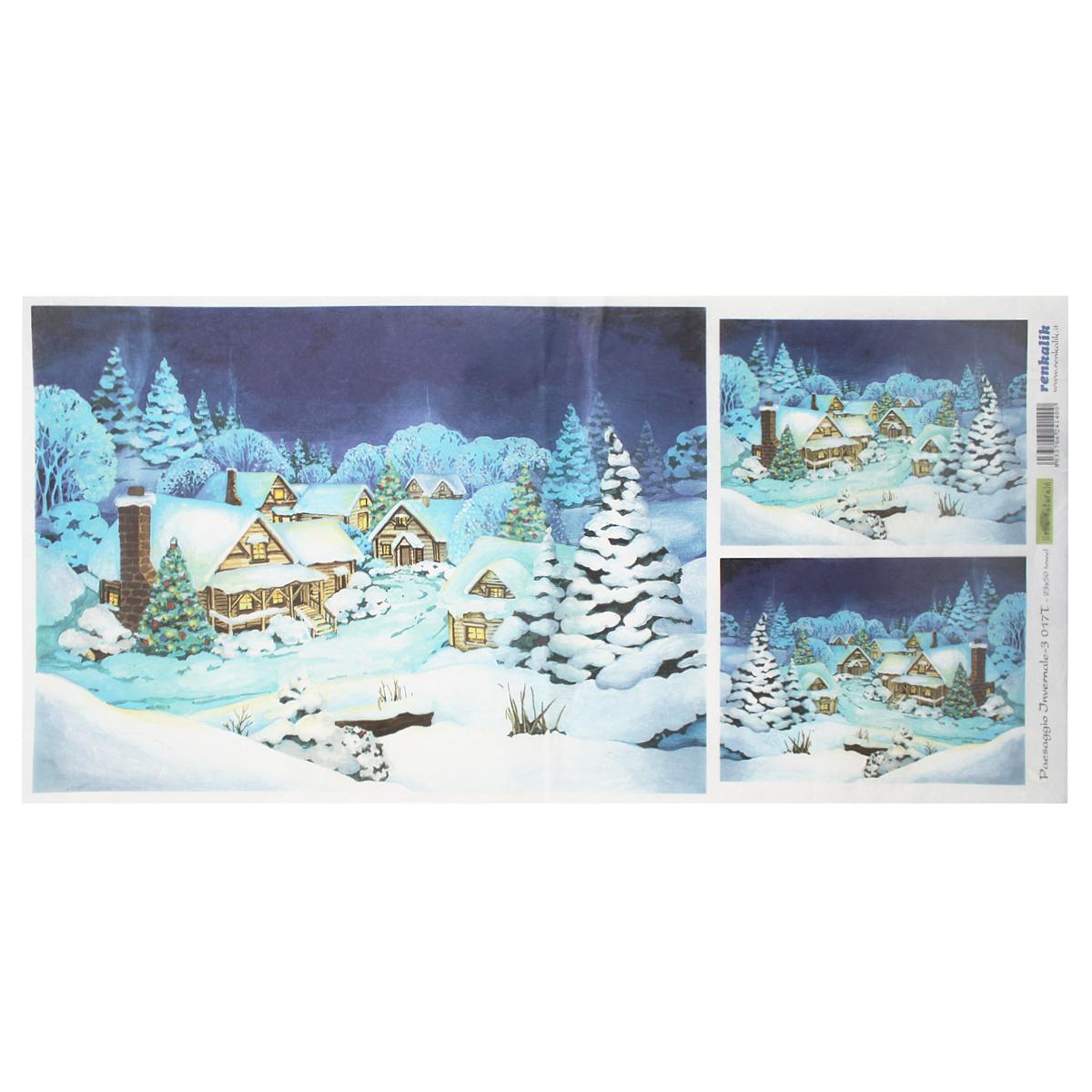 Рисовая бумага для декупажа Renkalik Зимний пейзаж, 23 х 50 см7716606Бумага для декупажа Renkalik предназначена для декорирования предметов. Имеет в составе прожилки риса, которые очень красиво смотрятся на декорируемом изделии, придают ему неповторимую фактуру и создают эффект нанесенного кистью рисунка. Подходит для декора в технике декупаж на стекле, дереве, пластике, металле и любых других поверхностях. Плотность бумаги: 25 г/м2.