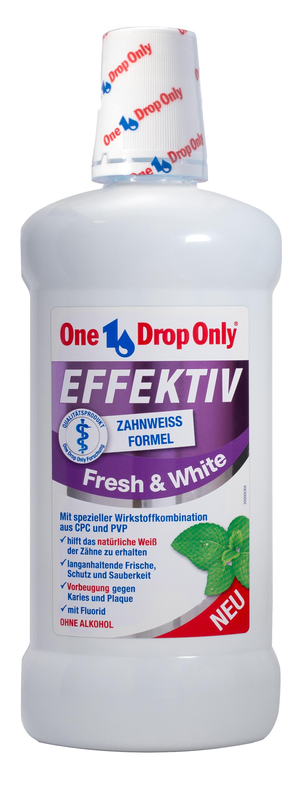 One Drop Only Effektiv Fresh&White Антибактериальный ополаскиватель полости рта, 500 мл only on380ewogp68
