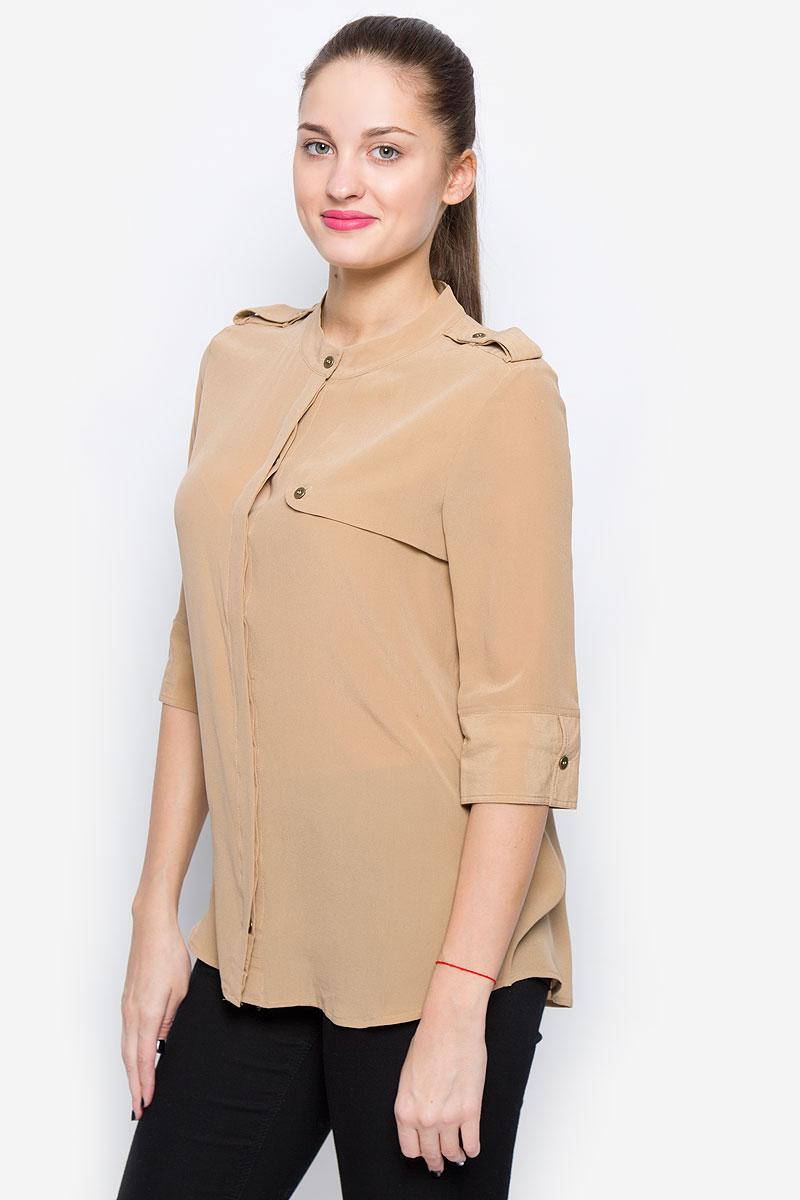 Блузка женская Selected Femme, цвет: темно-бежевый. 16051844. Размер 38 (44) блузка женская selected femme цвет розовый 16053871 размер 40 46