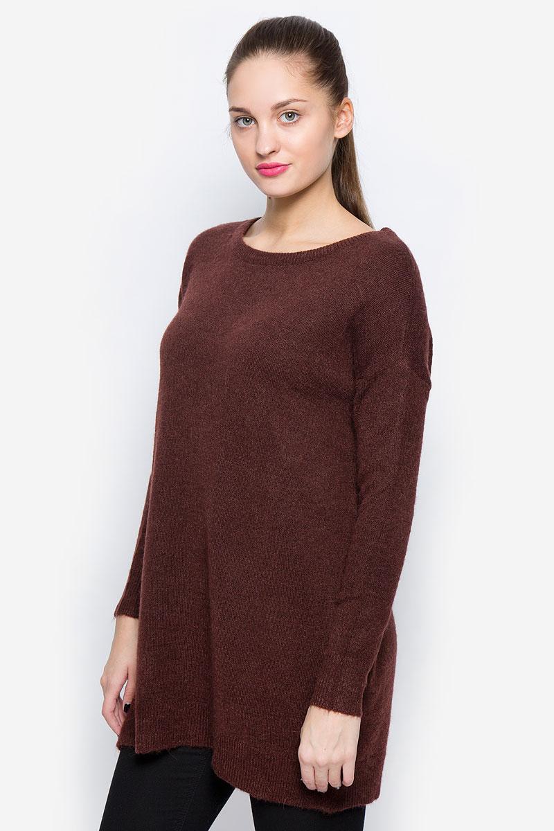 Джемпер женский Vero Moda, цвет: темно-коричневый. 10159163. Размер M (44) джемпер женский vero moda цвет молочный 10189425 pristine размер m 44