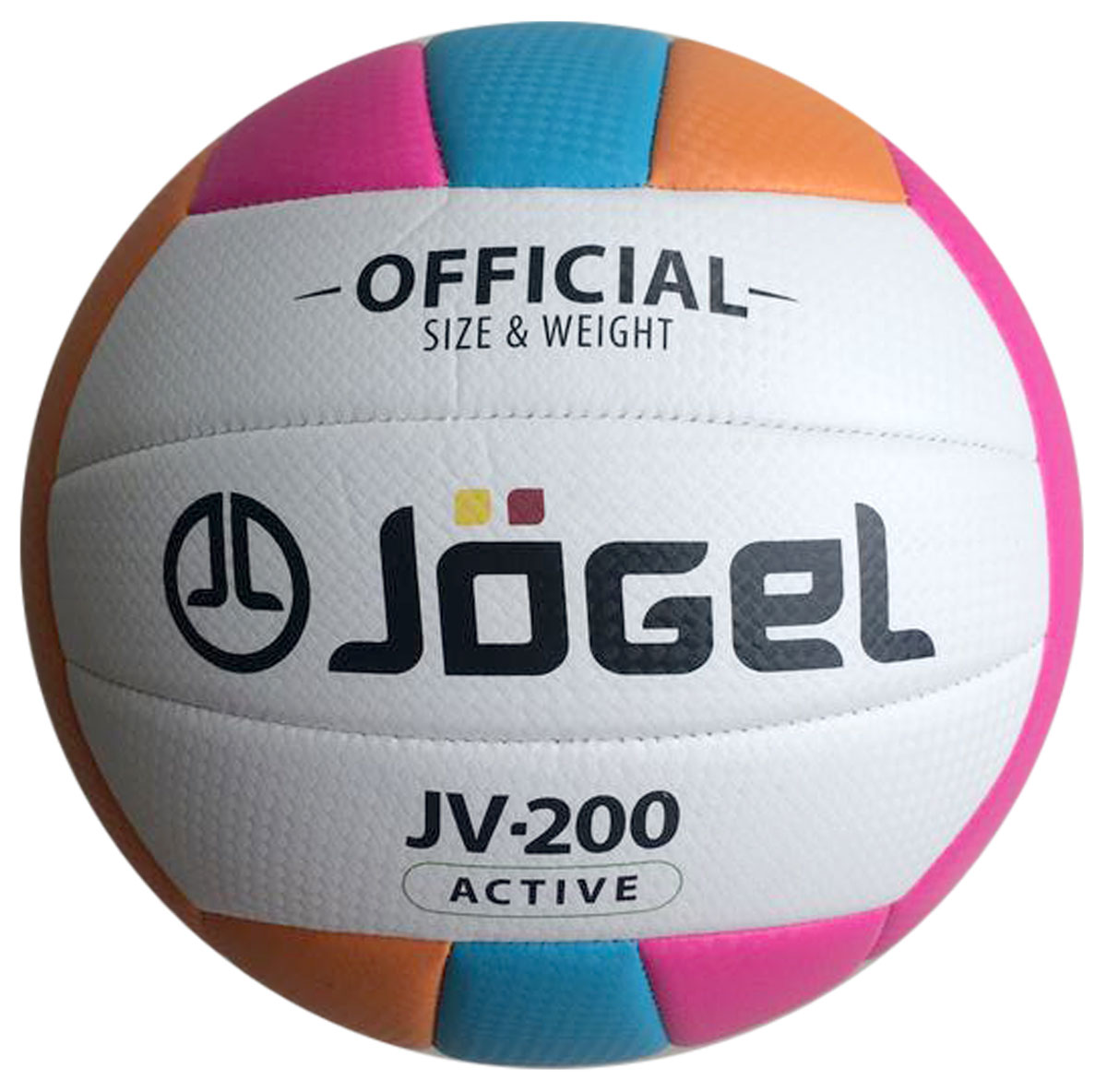 Мяч волейбольный Jogel, цвет: голубой, оранжевый, розовый. Размер 5. JV-200УТ-00009339Jogel JV-200 - яркий любительский мяч для классического волейбола и активного отдыха. Благодаря своей молодежной расцветке и еще более мягкой поверхности, чем у модели JV-100, данная модель пользуется популярностью в качестве мяча для пляжного волейбола. Поверхность мяча выполнена из текстурной мягкой синтетической кожи (поливинилхлорид) с увеличенной толщиной, что позволяет избежать синяков и ушибов на руках, даже при сильных ударах. Мяч состоит из 18-ти панелей и оснащен бутиловой камерой. Данный мяч подходит для поставок на гос. тендеры, образовательные учреждения и спортивные секции. Официальный размер и вес FIBV.Рекомендованные покрытия: Паркет, песок, резина, гаревые поля, бетонМатериал покрышки:Синтетическая кожа (поливинилхлорид)Материал камеры:БутилТип соединения панелей:Машинная сшивкаКоличество панелей:18Размер:5Вес:260-280 гр.Длина окружности: 65-67 смРекомендованное давление: 0.29-0.32 барКоличество в коробке: 50 шт.УВАЖАЕМЫЕ КЛИЕНТЫ!Обращаем ваше внимание на тот факт, что мяч поставляется в сдутом виде. Насос в комплект не входит.