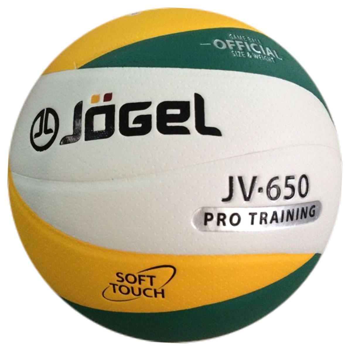 Мяч волейбольный Jogel, цвет: зеленый, желтый. Размер 5. JV-650УТ-00009345Клееный волейбольный мяч Jogel предназначен для профессиональных тренировок. Покрышка мяча выполнена из мягкой высококачественной синтетической кожи (полиуретан). Его поверхность обработана по технологии Dimple - микроуглубления на поверхности мяча, обеспечивающие более лучший контроль, т.е. мяч меньше скользит.Мяч состоит из 12 панелей и бутиловой камеры, также армирован подкладочным слоем, выполненным из ткани.Волейбольный мяч Jogel JV-650 рекомендован для тренировок команд среднего и высокого уровня, а также соревнований любительских и средних команд. Вес: 260-280 гр. Длина окружности: 65-67 см.Рекомендованное давление: 0.29-0.32 бар. УВАЖАЕМЫЕ КЛИЕНТЫ!Обращаем ваше внимание на тот факт, что мяч поставляется в сдутом виде. Насос в комплект не входит.