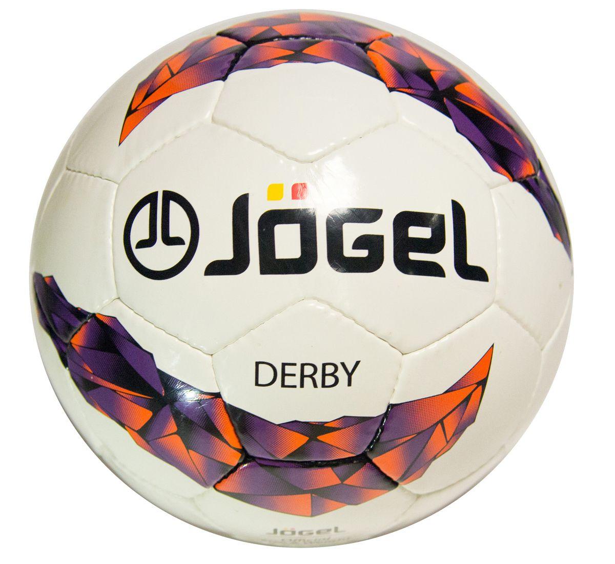 """Фото Мяч футбольный Jogel """"Derby"""", цвет: белый, сиреневый, оранжевый, черный. Размер 5. JS-500"""