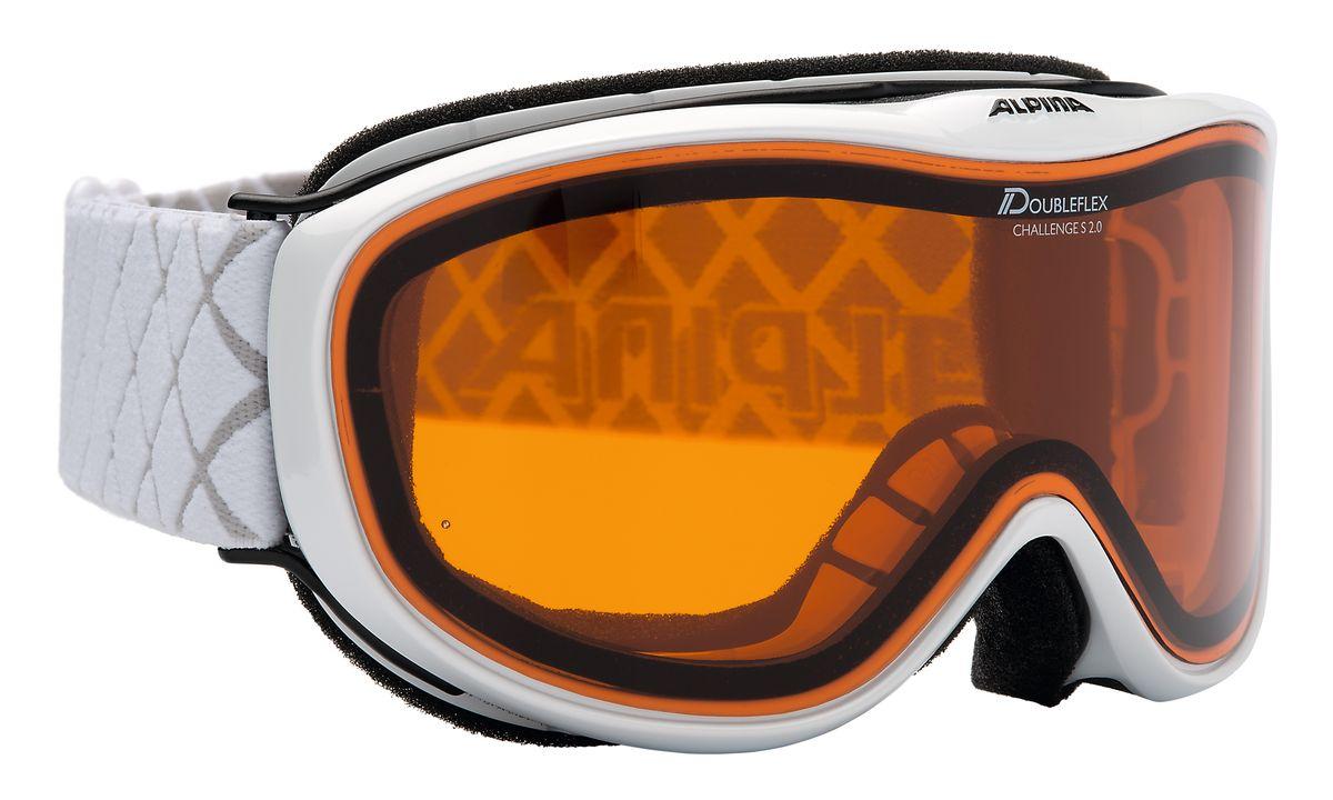 Очки горнолыжные Alpina Challenge S 2.0, цвет: белый. 7221_117221_11Лёгкая и очень удобная горнолыжная маска с отличным обзором. Обновлённая версия популярной модели Alpina Challenge! В модели сипользуется двойная линза ориентированная на примение в условиях переменной облачности и в пасмурную погоду без осадков.Особенности:• 100% защита от УФ А-В-С до 400 нм• Гибкая и комфортная оправа плотно и равномерно прилегает к лицу• Шарнирные проушины для ремешка позволяют надёжно и комфортно зафиксировать маску на любом, даже очень массивном шлеме • Антифог покрытие снижает риск запотевания маски• По контуру оправы расположены вентиляционные порты• Объём маски позволяет использовать её вместе с корректирующими очками. В уплотнителе предусмотрены углубления для их дужекСезон: 16-17
