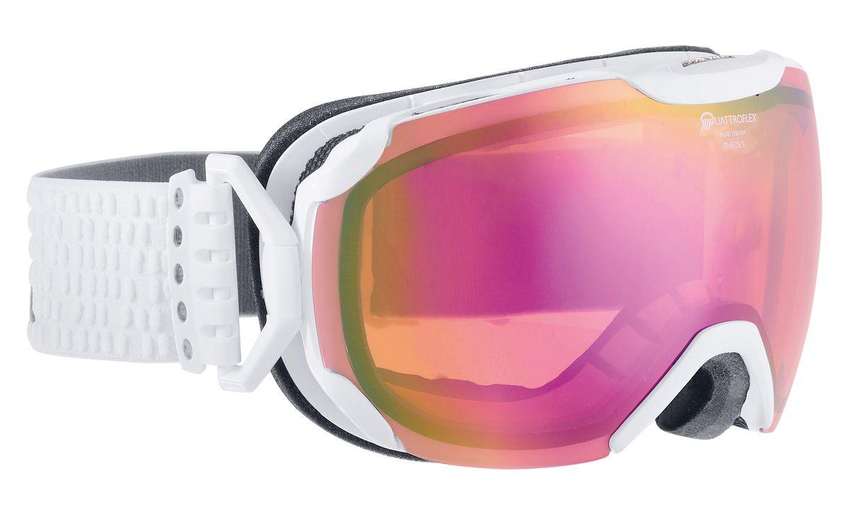 Очки горнолыжные Alpina Pheos S, цвет: белый, розовый. 7243_117243_11Уменьшенная версия модели Pheos. Pheos S - это комфортная горнолыжная маска с широким углом обзора выполненная в стильном и функциональном без-оправном дизайне. ДВ маске используется поляризованная двойная линза Quattroflex со стильным зеркальным покрытием Multi Mirrow (MM), которая эффективно приглушает блики отражённого света и защищает глаза от интенсивного освещения. Всё это делает восприятие склона более контрастным и детальным, что позволяет райдеру точнее выбирать линию спуска и быстрее реагировать на возникающие препятствия. Фильтр категории S2 рассчитан на катание в условиях переменной облачности и неяркого солнца.Особенности:• 100% защита от УФ А-В-С до 400 нм• Без-оправный дизайн маски позволил радикально расширить поле зрения райдера без значительного увеличения размеров линзы• Гибкая и комфортная оправа плотно и равномерно прилегает к лицу• Шарнирные направляющие для ремешка позволяют надёжно и комфортно зафиксировать маску на шлеме • Антифог покрытие снижает риск запотевания маски• На ремешок нанесены полоски из силикона, которые не дают ему скользить по шлему или шапке• По контуру оправы расположены вентиляционные порты