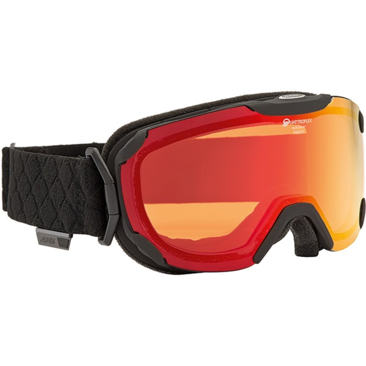 Очки горнолыжные Alpina Pheos S, цвет: черный, красный7243_31Уменьшенная версия модели Pheos. Pheos S - это комфортная горнолыжная маска с широким углом обзора выполненная в стильном и функциональном без-оправном дизайне. ДВ маске используется поляризованная двойная линза Quattroflex со стильным зеркальным покрытием Multi Mirrow (MM), которая эффективно приглушает блики отражённого света и защищает глаза от интенсивного освещения. Всё это делает восприятие склона более контрастным и детальным, что позволяет райдеру точнее выбирать линию спуска и быстрее реагировать на возникающие препятствия. Фильтр категории S2 рассчитан на катание в условиях переменной облачности и неяркого солнца.Особенности:• 100% защита от УФ А-В-С до 400 нм• Без-оправный дизайн маски позволил радикально расширить поле зрения райдера без значительного увеличения размеров линзы• Гибкая и комфортная оправа плотно и равномерно прилегает к лицу• Шарнирные направляющие для ремешка позволяют надёжно и комфортно зафиксировать маску на шлеме • Антифог покрытие снижает риск запотевания маски• На ремешок нанесены полоски из силикона, которые не дают ему скользить по шлему или шапке• По контуру оправы расположены вентиляционные порты