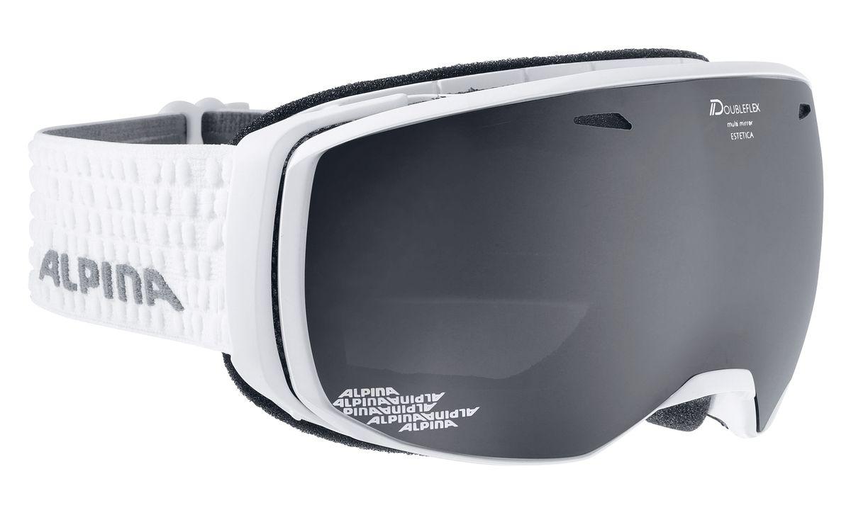 Очки горнолыжные Alpina Estetica, цвет: белый, черный. 7246_117246_11Estetica - представитель нового поколения горнолыжных масок в ассортименте Alpina, Отличительными чертами модели стали использование без-оправной конструкции и сферических линз, что обеспечило райдеру очень широкий панорамный обзор. В маске используется двойная линза со стильным зеркальным покрытием Multi Mirrow (MM), которое приглушает блики отражённого света и защищает глаза от интенсивного освещения. Тёмный фильтр рассчитан на катание в условиях яркой солнечной погоды.Особенности:• 100% защита от УФ А-В-С до 400 нм• Без-оправный дизайн маски позволил радикально расширить поле зрения райдера без значительного увеличения размеров линзы• Шарнирные проушины для ремешка позволяют надёжно и комфортно зафиксировать маску даже на массивном шлеме• Сферическая линза дополнительно увеличивает поле зрения и исключает оптические искажения• Гибкая и комфортная оправа плотно и равномерно прилегает к лицу • Антифог покрытие снижает риск запотевания маски• На ремешок нанесены полоски из силикона, которые не дают ему скользить по шлему или шапке• Вентиляционные отверстия в линзе улучшают циркуляцию воздуха, что дополнительно снижает риск заптевания маски• По контуру оправы расположены вентиляционные портыСезон: 16-17