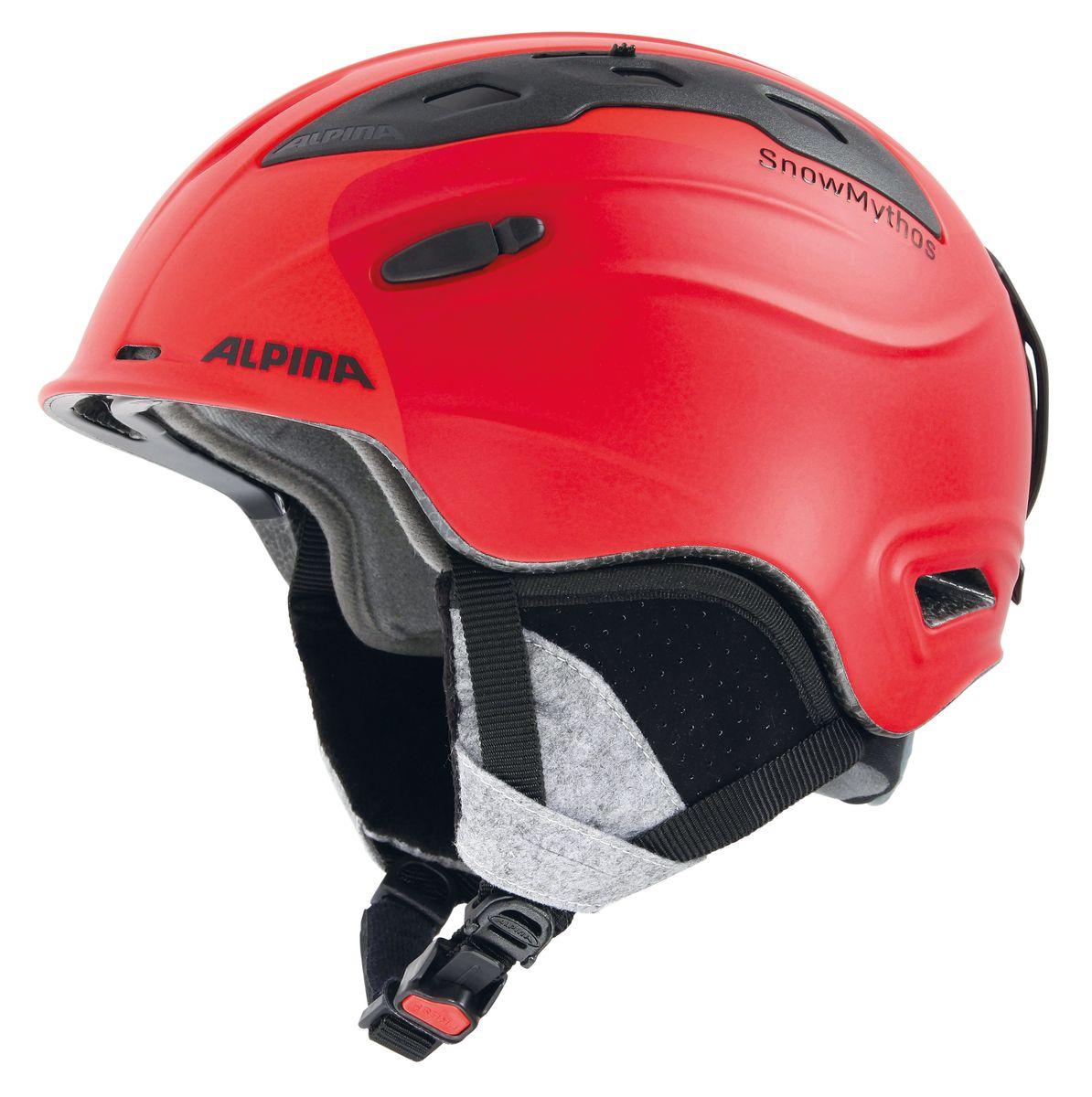Шлем зимний Alpina Snowmythos, цвет: зеленый. Размер 55-599062_72Экстремально легкая модель шлема Alpina Snowmythos с прекрасными защитными свойствами. Для тех, ищет недорогую модель с клеймом «Сделано в Германии». Технологии:INMOLD TEC - технология соединения внутренней и внешней части шлема при помощи высокой температуры. Данный метод делает соединение исключительно прочным, а сам шлем легким. Такой метод соединения гораздо надежнее и безопаснее обычного склеивания. CERAMIC - особая технология производства внешней оболочки шлема. Используются легковесные материалы экстремально прочные и устойчивые к царапинам. Возможно использование при сильном УФ изучении, так же поверхность имеет антистатическое покрытие. RUN SYSTEM - простая система настройки шлема, позволяющая добиться надежной фиксации. AIRSTREAM CONTROL - регулируемые воздушные клапана для полного контроля внутренней вентиляции. REMOVABLE EARPADS - съемные амбушюры добавляют чувства свободы во время катания в теплую погоду, не в ущерб безопасности. При падении температуры, амбушюры легко устанавливаются обратно на шлем.CHANGEABLE INTERIOR - съемная внутренняя часть. Допускается стирка в теплой мыльной воде. NECKWARMER - дополнительное утепление шеи. Изготовлено из мягкого флиса. 3D FIT - ремень, позволяющий регулироваться затылочную часть шлема. Пять позиций позволят настроить идеальную посадку.