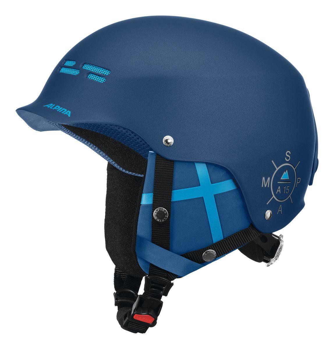 Шлем зимний Alpina Spam Cap, цвет: синий. Размер 54-579033_82Ультрастильный шлем для бесстрашных. Яркие цвета и стильный дизайн отлично смотреться в парке или в пайпе.• Шлем имеет максимально надёжную и долговечную Hardshell конструкцию - предварительно отлитая оболочка из ударопрочного пластика ABS прочно соединена с внутренней оболочкой из вспененного полистирола• Вентиляционные отверстия препятствуют перегреву и позволяют поддерживать идеальную температуру внутри шлема. Для этого инженеры Alpina используют эффект Вентури, чтобы сделать циркуляцию воздуха постоянной и максимально эффективной• Съемные ушки-амбушюры можно снять за секунду и сложить в карман лыжной куртки. Если вы наслаждаетесь катанием в начале апреля, такая возможность должна вас порадовать. А когда температура снова упадет - щелк и вкладыш снова на месте!• Внутренная оболочка каждого шлема Alpina состоит из гранул HI-EPS (сильно вспененного полистирола). Микроскопические воздушные карманы эффективно поглощают ударную нагрузку и обеспечивают высокую теплоизоляцию. Эта технология позволяет достичь минимальной толщины оболочки. А так как гранулы HI-EPS не впитывают влагу, их защитный эффект не ослабевает со временем.• Ручка регулировки Run System Classic в задней части шлема позволяет за мгновение комфортно усадить шлем на затылке• Y-образный ремнераспределитель двух ремешков находится под ухом и обеспечивает быструю и точную посадку шлема на голове• Вместо фастекса на ремешке используется красная кнопка с автоматическим запирающим механизмом, которую легко использовать даже в лыжных перчатках. Механизм защищён от произвольного раскрытия при падении.