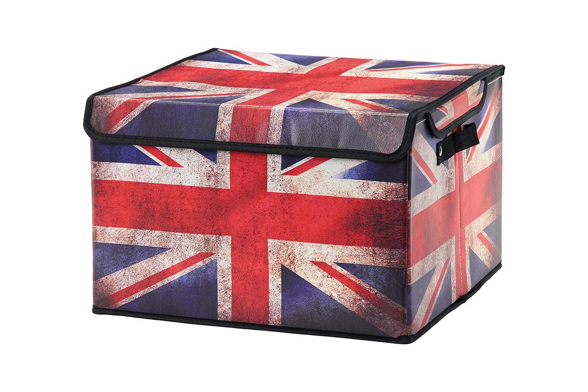 Кофр для хранения El Casa Британский флаг, складной, 41 х 36 х 26 см171411Складной кофр El Casa Британский флаг, выполненный из МДФ и экокожи, понравится всем ценителям оригинальных вещей. Благодаря удобной конструкции складывается и раскладывается одним движением. В сложенном виде изделие занимает минимум места, его легко хранить и перевозить. В таком кофре можно хранить всевозможные предметы: книги, игрушки, рукоделие. Яркий дизайн привнесет в ваш интерьер неповторимый шарм.Размер кофра (в собранном виде): 41 х 36 х 26 см.