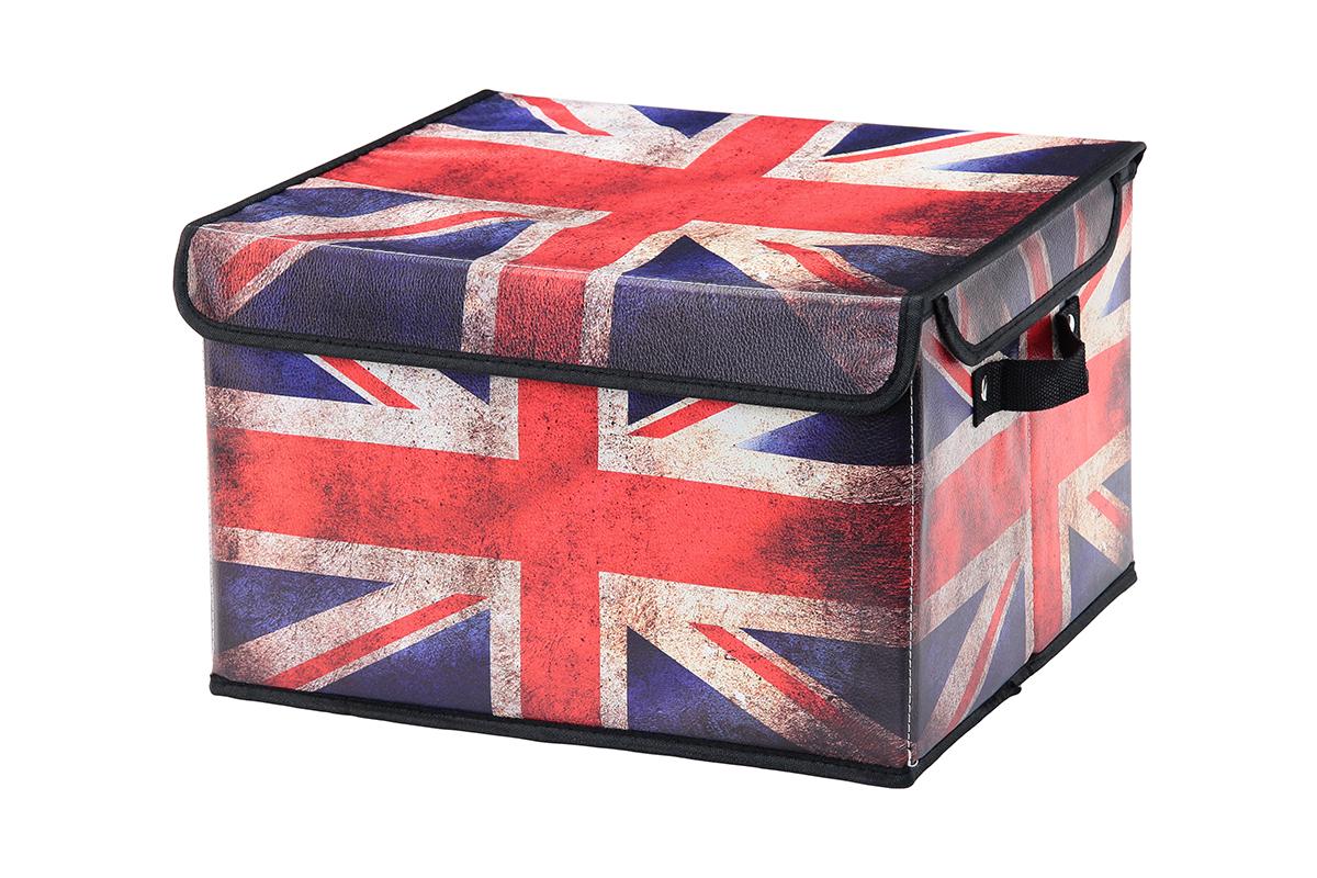 Кофр для хранения El Casa Британский флаг, складной, 37 х 31 х 23 см171415Складной кофр El Casa Британский флаг, выполненный из МДФ и экокожи, понравится всем ценителям оригинальных вещей. Благодаря удобной конструкции складывается и раскладывается одним движением. В сложенном виде изделие занимает минимум места, его легко хранить и перевозить. В таком кофре можно хранить всевозможные предметы: книги, игрушки, рукоделие. Яркий дизайн привнесет в ваш интерьер неповторимый шарм.Размер кофра (в собранном виде): 37 х 31 х 23 см.