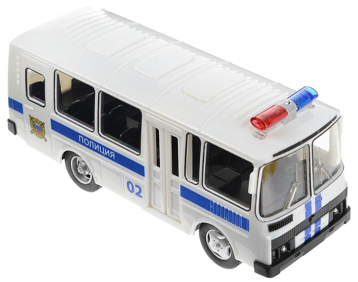 ТехноПарк Машинка инерционная ПАЗ 3205 Полиция машинки hti паровозик roadsterz синий с вагоном звуковыми и световыми эффектами