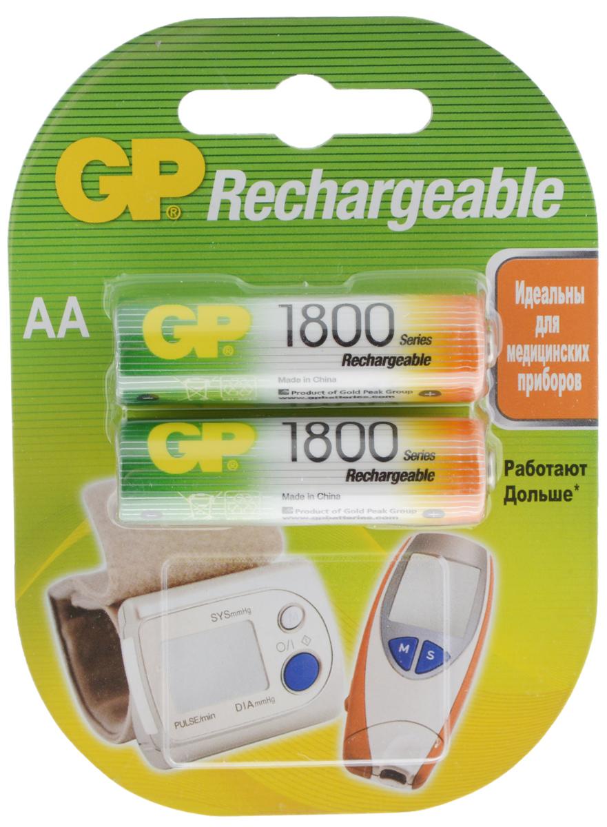 Набор аккумуляторов GP Batteries Rechrgeable, тип АА, 1800 mAh, 2 шт набор аккумуляторов gp batteries тип ааа 1000 mah 2 шт