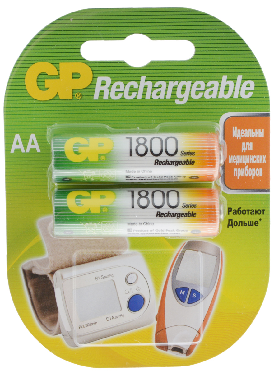 Набор аккумуляторов GP Batteries Rechrgeable, тип АА, 1800 mAh, 2 шт товары для детей