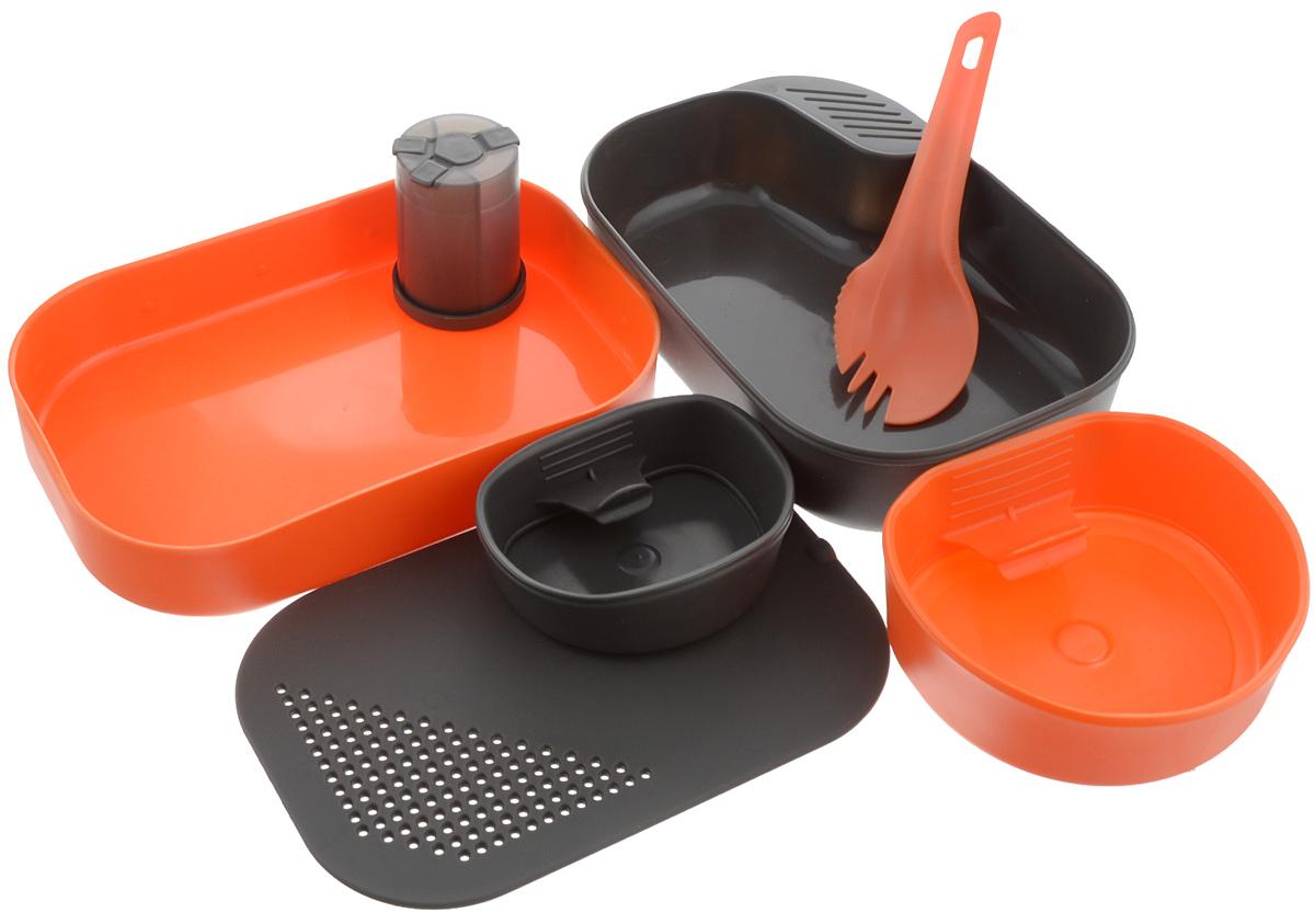 Набор походной посуды Wildo Camp-a-Box Complete, портативный, цвет: оранжевый, черный, 7 предметов