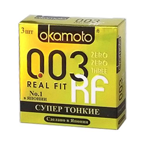 Okamоto Презервативы 0.03 Real Fit, cверх-тонкие, особой облегающей формы полная анатомия, 3 шт hot spain fly extreme woman 30 мл возбуждающие капли для женщин