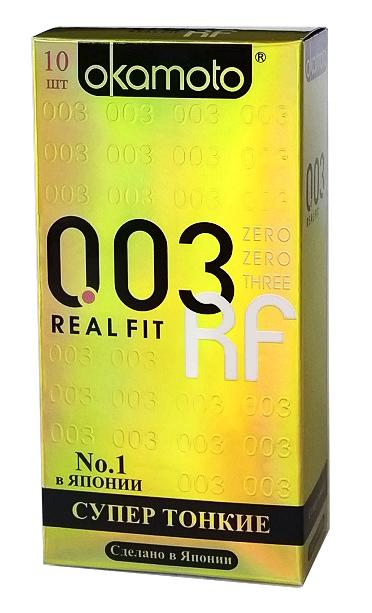 Okamоto Презервативы 0.03 Real Fit, сверх-тонкие, особой облегающей формы полная анатомия, 10 шт okamoto real fit презервативы самые тонкие латексные анатомической формы