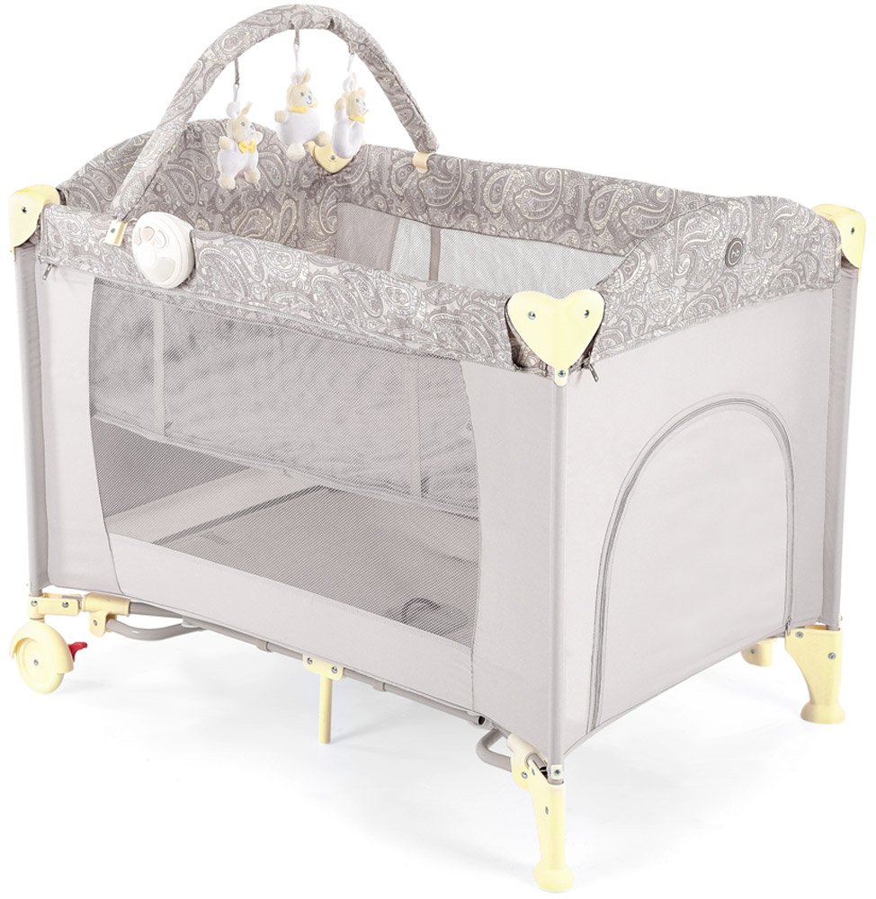 Happy Baby Кровать-манеж Lagoon V2 цвет бежевый4690624017643Кровать-манеж Happy Baby Lagoon V2 - это модель манежа 3 в 1: манеж-кроватка со вторым дном; шезлонг-качалка; манеж для игр.Новорожденным. На манеж быстро устанавливается второе дно при помощи застежки-молнии, благодаря чему, он превращается в кроватку, в которой малыша можно будет легко и с комфортом укачивать. Укачивание обеспечивают две съемные дуги по обеим сторонам манежа, поверхность которых защищена силиконовыми накладками для мягкого и тихого укачивания. Внимание малыша привлечет дуга с игрушками, которые можно легко снять и постирать, или заменить другими развивающими игрушками. Также в комплект входит шезлонг-качалка для новорожденного. Шезлонг при необходимости легко устанавливается на бортики манежа, и в данном положении его можно использовать как пеленальный столик.Шезлонг оснащен крышей для защиты малыша от солнечных лучей, трехточечными ремнями безопасности для надежной фиксации, а также съемным матрасиком с мягкими бортиками. В случае если малыша нужно укачать, шезлонг можно снять с манежа, разложить дуги для качания и расположить ребенка в удобном месте для засыпания.Удобный легкий шезлонг-качалка освободит руки и время маме, делая совместное пребывание обоих спокойным и комфортным.Для деток постарше манеж легко превратится в большое игровое пространство с лазом на молнии и карманом для игрушек с внешней стороны. Достаточно снять второе дно, убрать шезлонг и сложить дуги для укачивания на манеже. Наличие москитной сетки в комплекте дает возможность использовать манеж на свежем воздухе, вне периметра домашнего пространства.Благодаря легкому алюминиевому каркасу и двум колесам, манеж можно без труда перемещать по дому, при переездах легко складывается в удобную сумку для переноски.Максимальный вес ребенка для кровати-манежа: 14 кг. Максимальный вес ребенка для шезлонга: 9 кг.Уход. Текстильные материалы: протирайте влажной губкой с мыльным раствором, не пользуйтесь моющими средствами. Не выкру