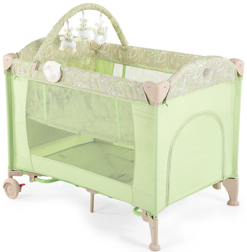 Happy Baby Кровать-манеж Lagoon V2 цвет зеленый4690624017667Кровать-манеж Happy Baby Lagoon V2 - это модель манежа 3 в 1: манеж-кроватка со вторым дном; шезлонг-качалка; манеж для игр.Новорожденным. На манеж быстро устанавливается второе дно при помощи застежки-молнии, благодаря чему, он превращается в кроватку, в которой малыша можно будет легко и с комфортом укачивать. Укачивание обеспечивают две съемные дуги по обеим сторонам манежа, поверхность которых защищена силиконовыми накладками для мягкого и тихого укачивания. Внимание малыша привлечет дуга с игрушками, которые можно легко снять и постирать, или заменить другими развивающими игрушками. Также в комплект входит шезлонг-качалка для новорожденного. Шезлонг при необходимости легко устанавливается на бортики манежа, и в данном положении его можно использовать как пеленальный столик.Шезлонг оснащен крышей для защиты малыша от солнечных лучей, трехточечными ремнями безопасности для надежной фиксации, а также съемным матрасиком с мягкими бортиками. В случае если малыша нужно укачать, шезлонг можно снять с манежа, разложить дуги для качания и расположить ребенка в удобном месте для засыпания.Удобный легкий шезлонг-качалка освободит руки и время маме, делая совместное пребывание обоих спокойным и комфортным.Для деток постарше манеж легко превратится в большое игровое пространство с лазом на молнии и карманом для игрушек с внешней стороны. Достаточно снять второе дно, убрать шезлонг и сложить дуги для укачивания на манеже. Наличие москитной сетки в комплекте дает возможность использовать манеж на свежем воздухе, вне периметра домашнего пространства.Благодаря легкому алюминиевому каркасу и двум колесам, манеж можно без труда перемещать по дому, при переездах легко складывается в удобную сумку для переноски.Максимальный вес ребенка для кровати-манежа: 14 кг. Максимальный вес ребенка для шезлонга: 9 кг.Уход. Текстильные материалы: протирайте влажной губкой с мыльным раствором, не пользуйтесь моющими средствами. Не выкру