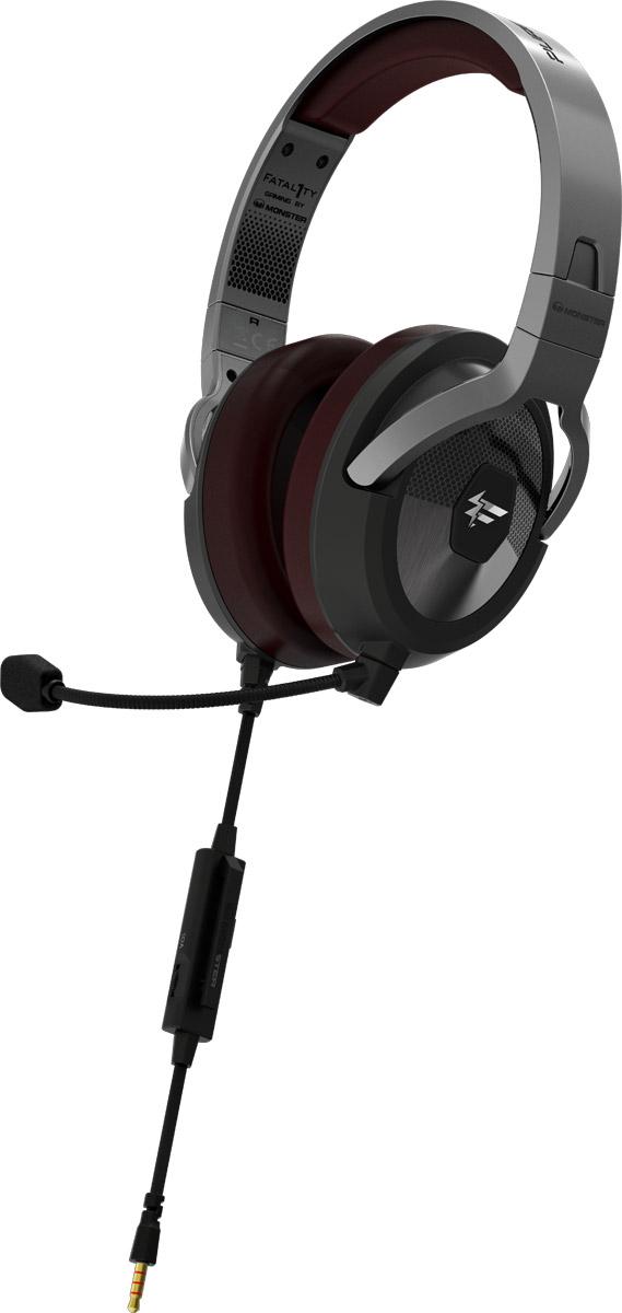 Monster Fatal1ty FXM 200 Ultra, Black игровая гарнитура137049-00Игровая гарнитура Monster Fatal1ty является продуктов совместной разработки бренда Monster и всемирно известного киберспортсмена Джонатана «Fatal1ty» Вендела. Сотрудничество самого успешного в мире геймера и бренда Monster, являющегося одним из главных экспертов в области создания идеального персонального аудио и уникальных технологий воспроизведения звука, позволило создать продукт, отвечающий всем потребностям профессиональных геймеров. В гарнитуре используется эксклюзивная технология fHex720 Sound Chamber Technology, а также специально адаптированная под игровую гарнитуру уникальная технология звука Pure Monster Sound. Идеально сочетающиеся с шумоизолирующими амбушюрами, специально разработанные динамики позволяют вам услышать все оттенки звука в мельчайших деталях. Используя игровую гарнитуру Monster Fatal1ty, вы сможете максимально точно ориентироваться в пространстве, получая преимущество перед соперниками и возможность прочувствовать игру как никогда раньше. Гарнитуру Monster Fatal1ty отличает эргономичный дизайн, что позволяет вам проводить за любимыми играми несколько часов подряд, не ощущая усталость или дискомфорт, а благодаря высококачественным материалам и надежной конструкции сборки, можно не волноваться о повреждениях и износе гарнитуры во время транспортировки или использования. Использование технологии Pure Monster Sound делает прослушивание музыки настоящим откровением. Отсоединяемый микрофон с внешним шумоподавлением позволяет с легкостью общаться в любимых играх, а встроенная система управления звуком ControlTalk Universal дает возможность отвечать на телефонные звонки с помощью всего лишь одной кнопки, если вы подключили гарнитуру к своему смартфону.