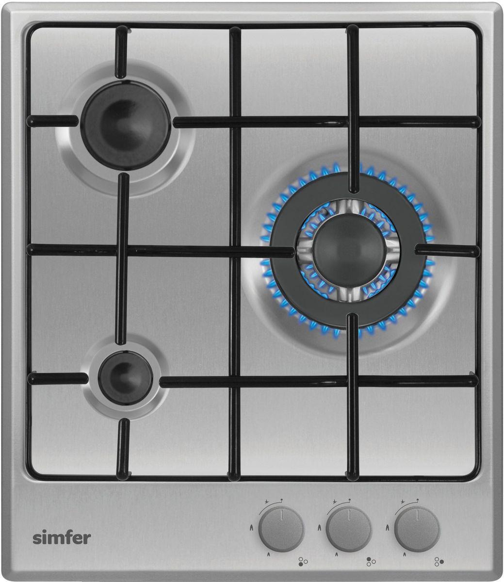 Simfer H45V35M411 панель варочная газоваяH45V35M411Газовая варочная панель Simfer H45V35M411 с чистым пламенем доведет вашу сковороду до нужной температуры без всяких задержек. Включите её и всё днище сковороды будет моментально нагрето.Благодаря идеальному расположению панели управления и индикатора уровня мощности прямо спереди этой варочной панели, любой повар, будь он левша или правша, сможет пользоваться ими с одинаковой лёгкостью.Газовая варочная поверхность Simfer H45V35M411 упрощает приготовление и делает его безопаснее благодаря особой форме подставок, обеспечивающих абсолютную устойчивость посуды.Нет способа быстрее и удобнее для того, чтобы разжечь конфорку, чем автоподжиг варочной панели. Просто поверните ручку, чтобы открыть и зажечь газ одним плавным движением.