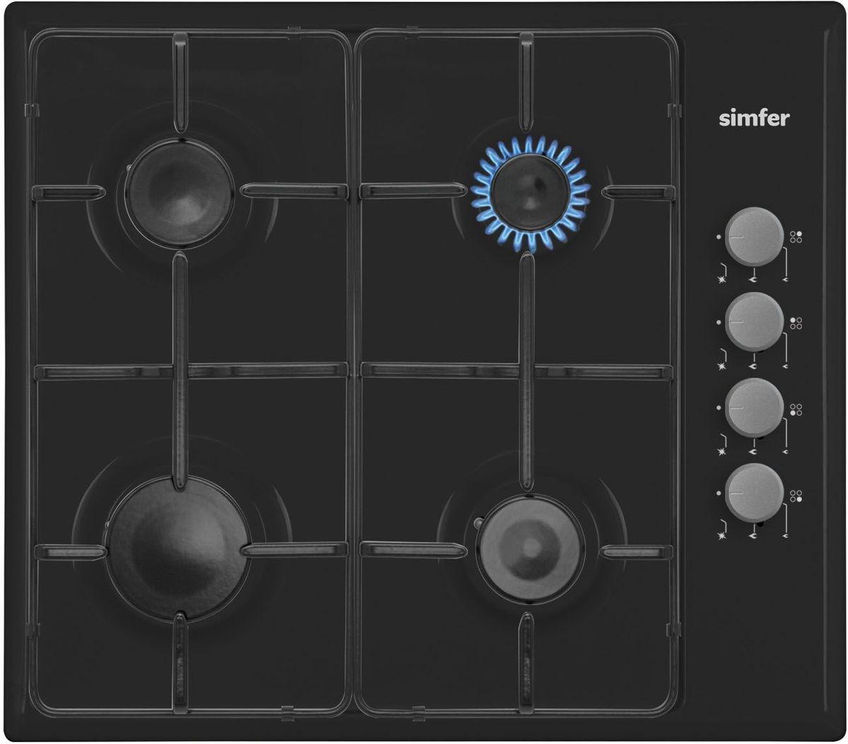Simfer H60Q40B411 панель варочная газоваяH60Q40B411Газовая варочная панель Simfer H60Q40B411 с чистым пламенем доведет вашу сковороду до нужной температуры без всяких задержек. Включите её и всё днище сковороды будет моментально нагрето.Благодаря идеальному расположению панели управления и индикатора уровня мощности прямо спереди этой варочной панели, любой повар, будь он левша или правша, сможет пользоваться ими с одинаковой лёгкостью.Газовая варочная поверхность Simfer H60Q40B411 упрощает приготовление и делает его безопаснее благодаря особой форме подставок, обеспечивающих абсолютную устойчивость посуды.Нет способа быстрее и удобнее для того, чтобы разжечь конфорку, чем автоподжиг варочной панели. Просто поверните ручку, чтобы открыть и зажечь газ одним плавным движением.В комплекте с газовыми варочными панелями, идет набор жиклеров для сжиженного газа и переходник для подключения шланга.