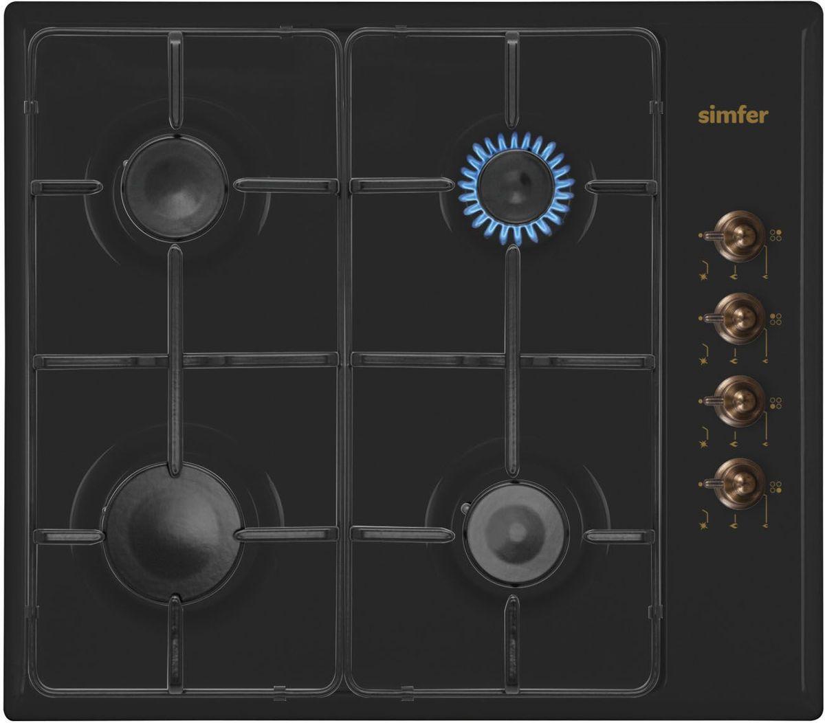 Simfer H60Q40L411 панель варочная газоваяH60Q40L411Газовая варочная панель Simfer H60Q40L411 с чистым пламенем доведет вашу сковороду до нужной температуры без всяких задержек. Включите её и всё днище сковороды будет моментально нагрето.Simfer H60Q40L411 упрощает приготовление и делает его безопаснее благодаря особой форме подставок, обеспечивающих абсолютную устойчивость посуды.Нет способа быстрее и удобнее для того, чтобы разжечь конфорку, чем автоподжиг варочной панели. Просто поверните ручку, чтобы открыть и зажечь газ одним плавным движением.