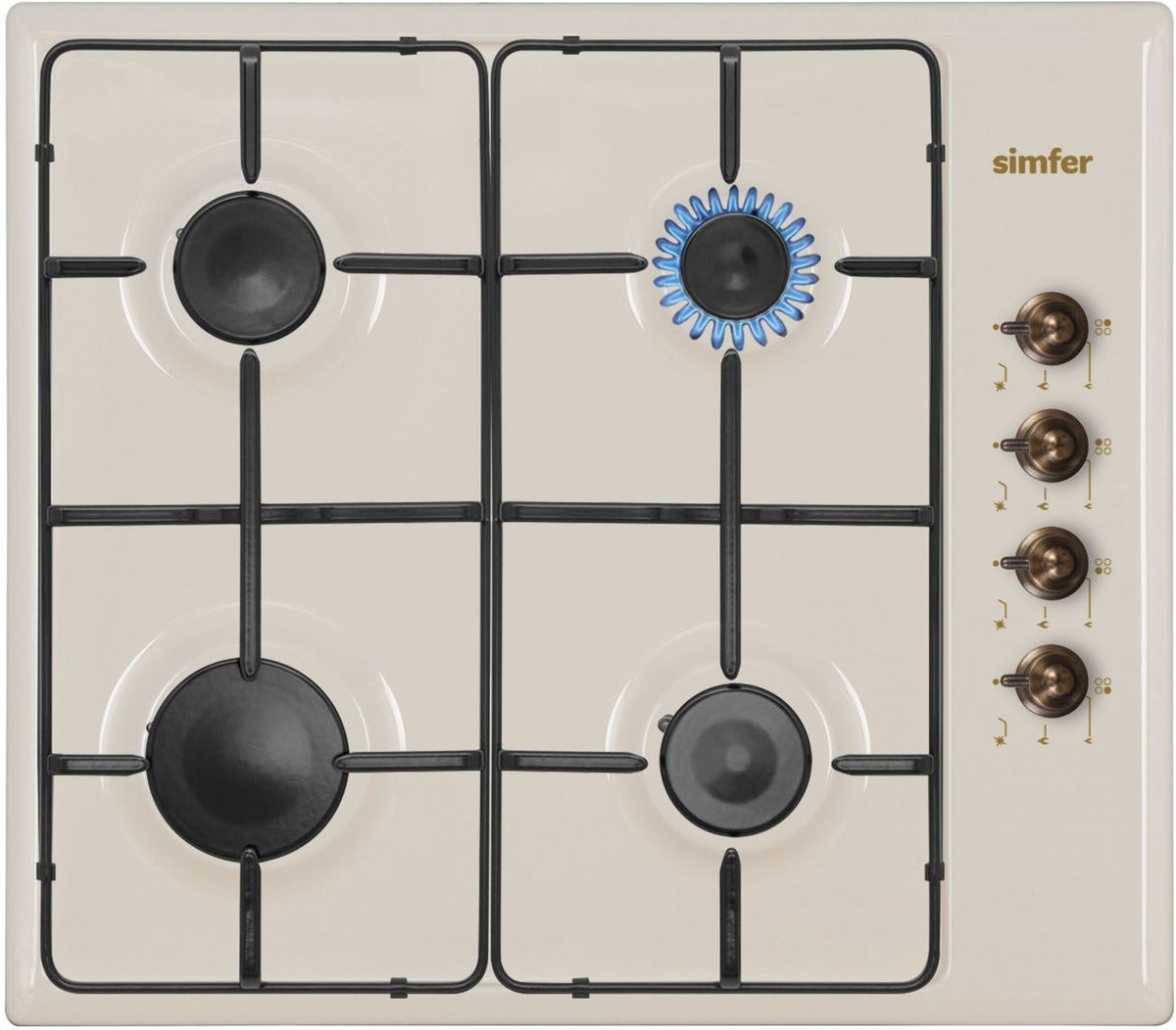 Simfer H60Q40O411 панель варочная газоваяH60Q40O411Газовая варочная панель Simfer H60Q40O411 с чистым пламенем доведет вашу сковороду до нужной температуры без всяких задержек. Включите её и всё днище сковороды будет моментально нагрето.Simfer H60Q40O411 упрощает приготовление и делает его безопаснее благодаря особой форме подставок, обеспечивающих абсолютную устойчивость посуды.Нет способа быстрее и удобнее для того, чтобы разжечь конфорку, чем автоподжиг варочной панели. Просто поверните ручку, чтобы открыть и зажечь газ одним плавным движением.