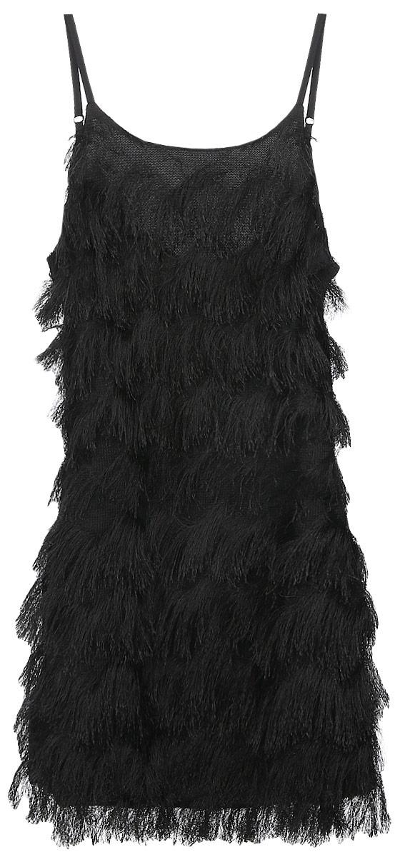 Платье Glamorous, цвет: черный. CK2720. Размер S (44)CK2720_BlackСтильное платье Glamorous, выполненное из легкого материала на подкладке из полиэстера, подчеркнет ваш уникальный стиль и поможет создать оригинальный женственный образ. Платье-мини на бретельках и с круглым вырезом горловины придется вам по душе.