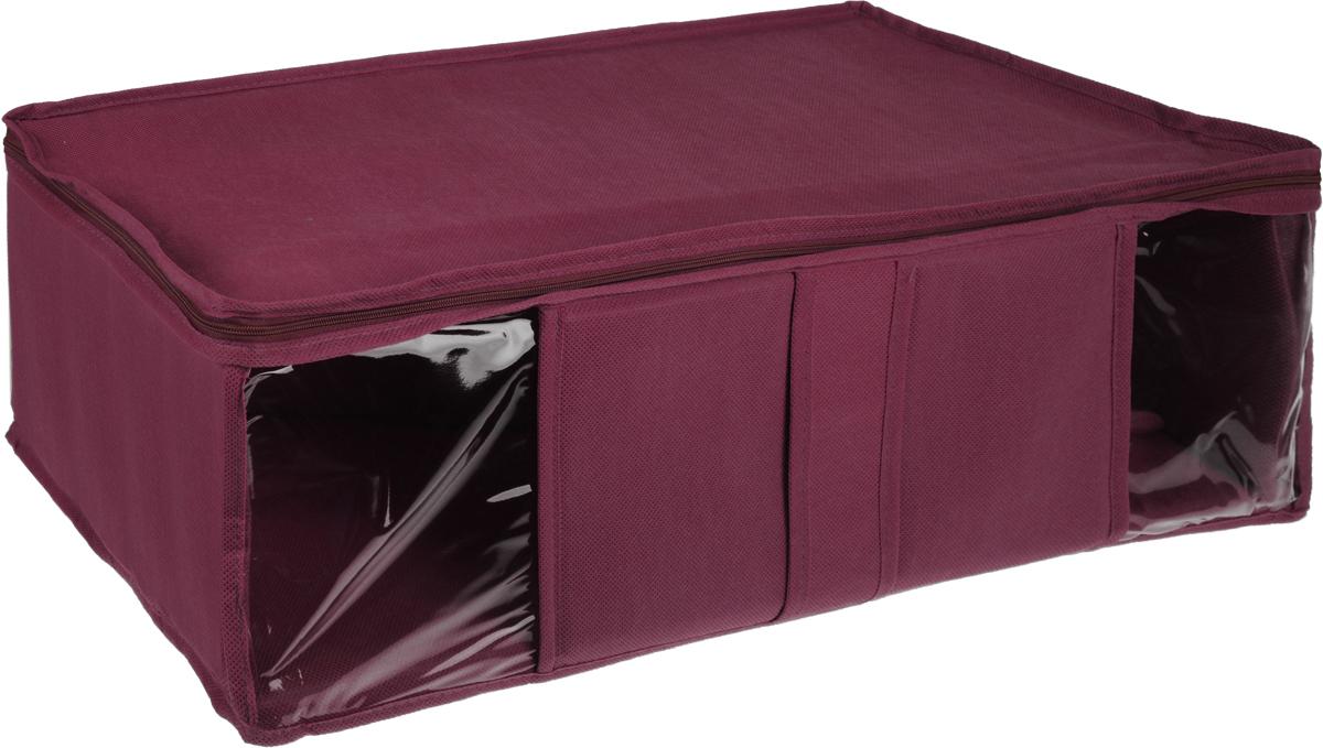 Кофр для хранения Miolla, цвет: бордовый, 60 х 30 х 20 смCHL-10-4Кофр Miolla выполнен из высококачественного спанбонда (нетканого материала). Прозрачные полиэтиленовые окошки позволяют видеть содержимое внутри. Подходит для длительного хранения вещей и закрывается откидной крышкой на застежке-молнии. Дно и стенки кофра оснащены специальными вставками из картона, которые держат его форму. Также кофр оснащен удобной ручкой, благодаря которой изделие можно использовать в качестве выдвижного ящика в гардеробе или шкафу. Такой кофр обеспечит вашей одежде надежную защиту от влажности, повреждений и грязи при транспортировке, от запыления при хранении и проникновения моли, а также позволит воздуху свободно поступать внутрь вещей, обеспечивая их кондиционирование.