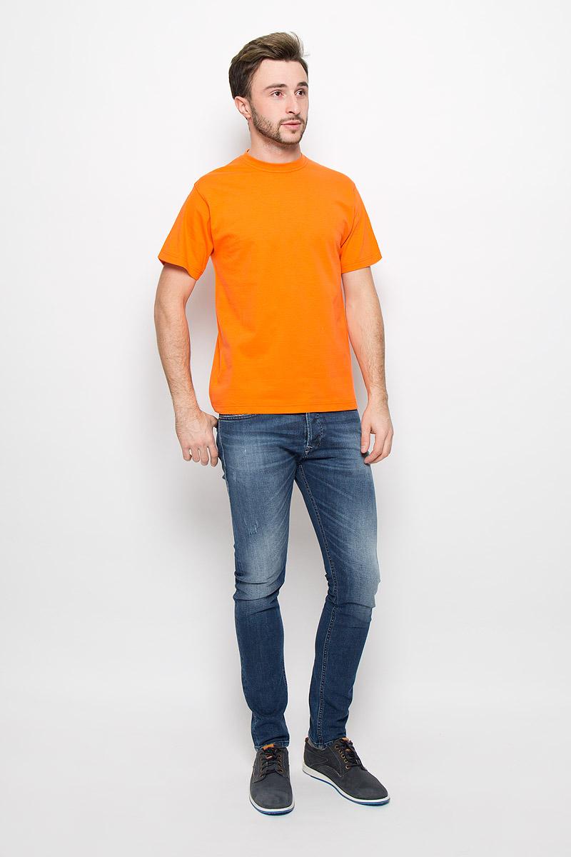 Футболка мужская Frutto Rosso, цвет: оранжевый. FR-001. Размер L (50)FR-001Мужская однотонная футболка Frutto Rosso выполнена из натурального хлопка. Горловина дополнена трикотажной резинкой.