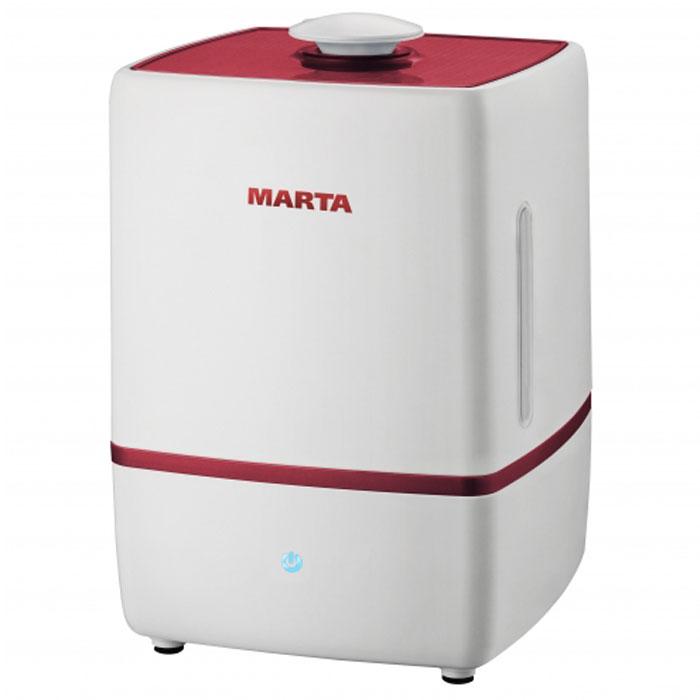 Marta MT-2659, Light Garnet увлажнитель воздухаMT-2659Увлажнитель воздуха Marta MT-2659 бесшумно нормализует уровень влажности в помещении до идеального уровня. Вы почувствуете разницу очень скоро, ведь от уровня влажности зависит и степень вашей работоспособности, и качество отдыха.Три режима интенсивности увлажнения позволяет создавать необходимый именно вам микроклимат, как дома, так и в офисе. Marta MT-2659 оснащен вместительным пятилитровым резервуаром. При расходе воды всего 250 мл/ч, такой объем позволяет поддерживать комфортные условия в жилом помещении на протяжении суток. Удобное и простое управление осуществляется при помощи сенсорной панели со светодиодной индикацией. Кроме того, вы можете использовать картридж арома-фильтра для насыщения воздуха вашим любимым ароматом.