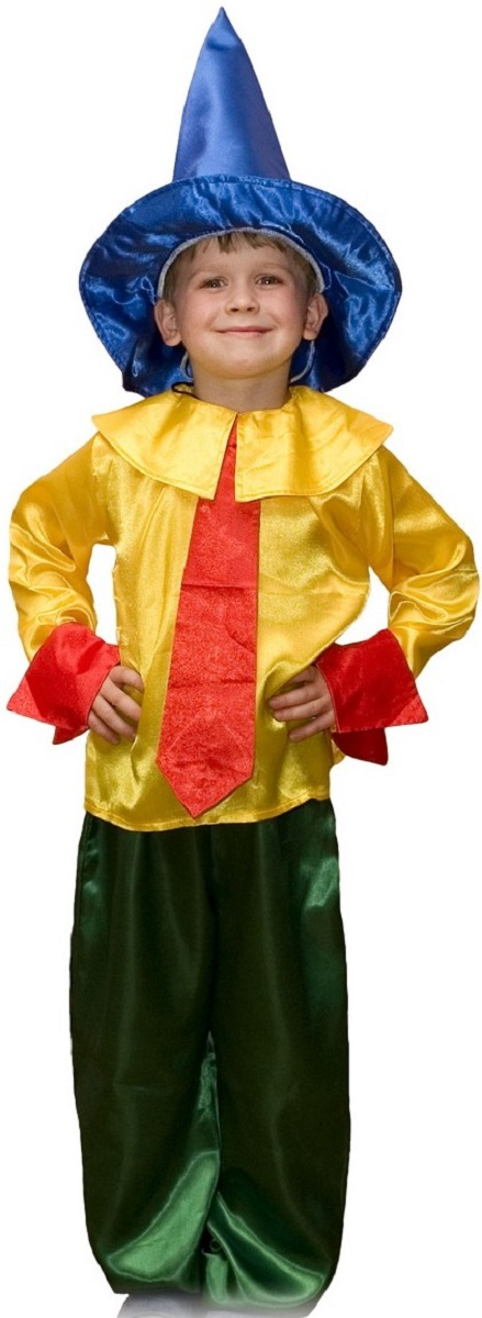Карнавалия Карнавальный костюм для мальчика Незнайка цвет желтый зеленый красный синий размер 110 Карнавалия
