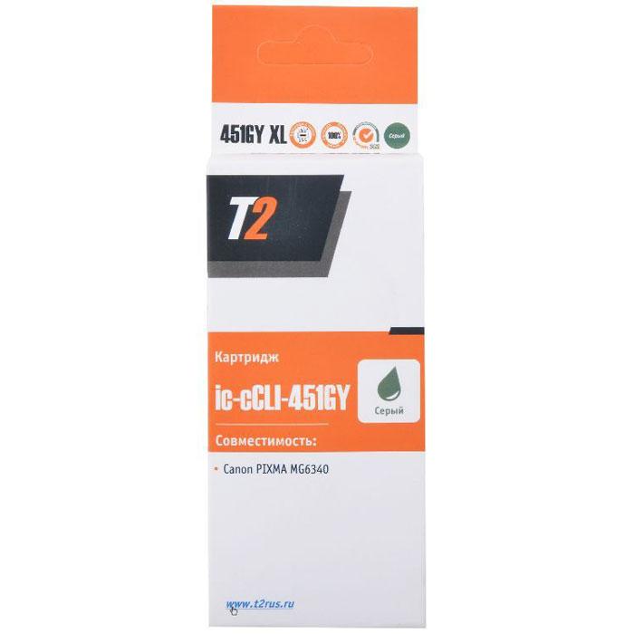 T2 IC-CCLI-451GY XL (аналог CLI-451GY), Grey картридж для Canon PIXMA iP8740/MG6340/7140 картридж canon cli 451gy 6527b001 серый