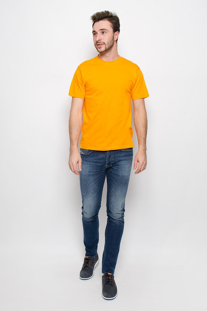 Футболка мужская Frutto Rosso, цвет: желтый. FR-001. Размер XXL (54)FR-001Мужская однотонная футболка Frutto Rosso выполнена из натурального хлопка. Горловина дополнена трикотажной резинкой.