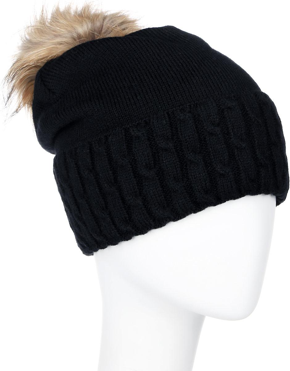 Шапка женская Marhatter, цвет: черный. MLH6204. Размер 56/58MLH6204Теплая женская шапка Marhatter отлично дополнит ваш образ в холодную погоду. Сочетание шерсти и акрила максимально сохраняет тепло и обеспечивает удобную посадку, невероятную легкость и мягкость. Шапка с большим вязанным отворотом выполнена в лаконичном однотонном стиле. Макушка шапки дополнена пушистым помпоном из натурального меха енота. Модель составит идеальный комплект с модной верхней одеждой, в ней вам будет уютно и тепло.Уважаемые клиенты!Размер, доступный для заказа, является обхватом головы.