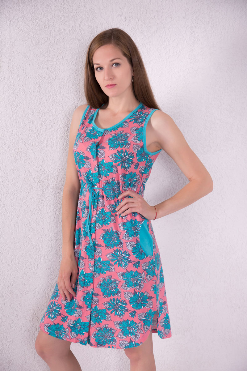 Платье-халат Violett, цвет: розовый, голубой. 7117110104. Размер XL (50) халат женский violett цвет розовый 7117110105 размер m 46