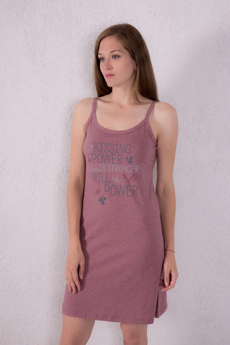 Платье домашнее Violett, цвет: лиловый. 7117110302. Размер XL (50)7117110302Платье домашнее Violett изготовлено из натурального хлопка. Модель на бретельках оформлена принтовыми надписями.