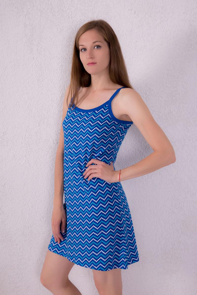 Платье домашнее Violett, цвет: синий. 7117110305. Размер S (44)7117110305Платье домашнее Violett изготовлено из натурального хлопка. Модель на бретельках оформлена интересным принтом.