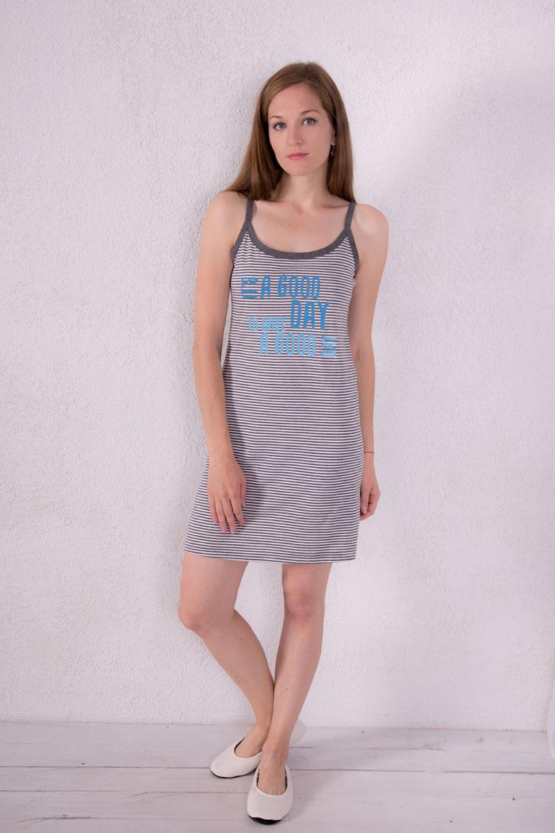 Платье домашнее Violett, цвет: серый. 7117110309. Размер XL (50)7117110309Платье домашнее Violett изготовлено из натурального хлопка. Модель на бретельках оформлена принтом в полоску и надписями.