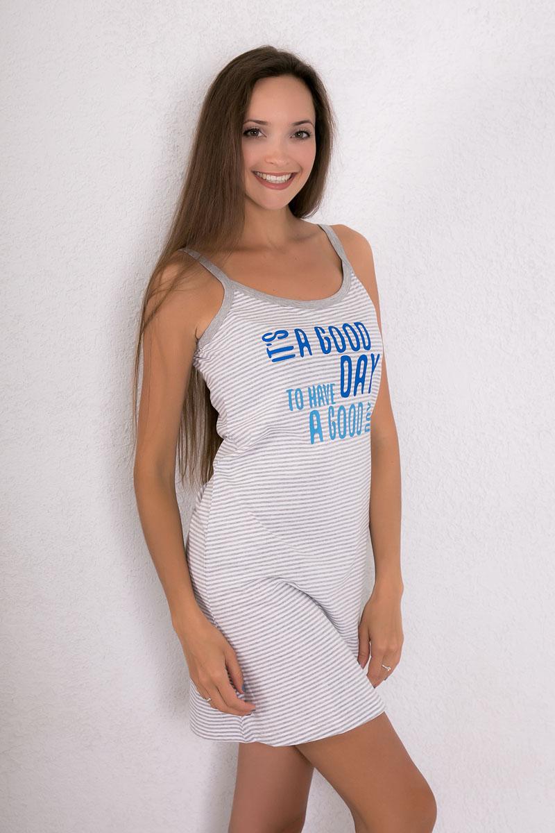 Платье домашнее Violett, цвет: светло-серый. 7117110311. Размер S (44)7117110311Платье домашнее Violett изготовлено из натурального хлопка. Модель на бретельках оформлена принтом в полоску и надписями.